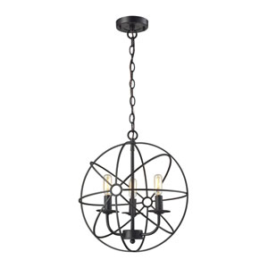 Yardley Oil Rubbed Bronze Three-Light Orb Pendant