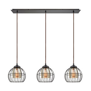 Yardley Oil Rubbed Bronze 36-Inch Three-Light Pendant with Mercury Glass Shades Inside Wire Cages