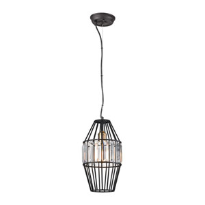 Yardley Oil Rubbed Bronze 8-Inch One-Light Mini Pendant with Clear Crystal Shade On Wire Cage
