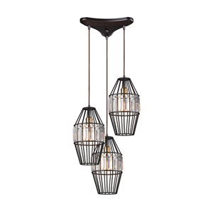 Yardley Oil Rubbed Bronze 17-Inch Three-Light Pendant with Clear Crystal Shades On Wire Cages