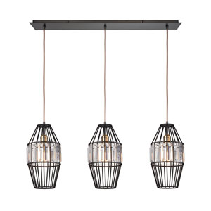 Yardley Oil Rubbed Bronze 36-Inch Three-Light Pendant with Clear Crystal Shades On Wire Cages