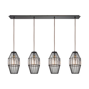 Yardley Oil Rubbed Bronze 46-Inch Four-Light Pendant with Clear Crystal Shades On Wire Cages