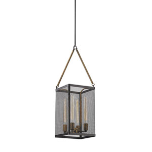 Donovan Wrought Iron Black and Antique Gold 11-Inch Four-Light Chandelier