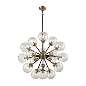 Boudreaux Matte Black and Antique Gold Eighteen-Light Pendant