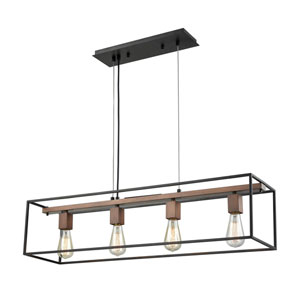Rigby Oil Rubbed Bronze and Tarnished Brass Four-Light Pendant