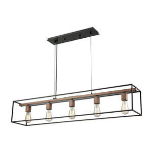 Rigby Oil Rubbed Bronze and Tarnished Brass Five-Light Pendant