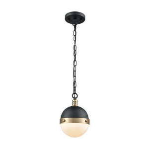 Harmelin Matte Black and Satin Brass One-Light Mini Pendant
