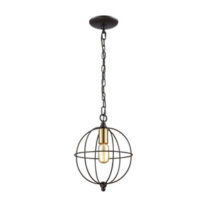 Loftin Oil Rubbed Bronze and Satin Brass One-Light Pendant