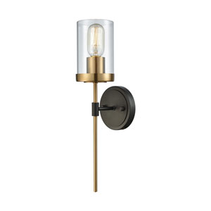North Haven Oil Rubbed Bronze and Satin Brass One-Light Wall Sconce