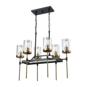 North Haven Oil Rubbed Bronze and Satin Brass 27-Inch Six-Light Chandelier