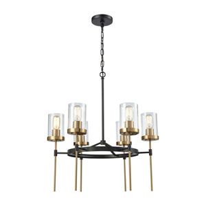 North Haven Oil Rubbed Bronze and Satin Brass 25-Inch Six-Light Chandelier