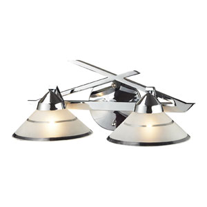 Refraction Polished Chrome Mars Two-Light Sconce
