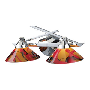 Refraction Two-Light Wall Bracket in Polished Chrome and Jasper Glass