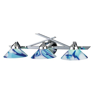 Refraction Three-Light Wall Bracket in Polished Chrome and Caribbean Glass