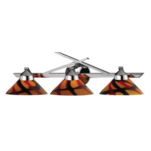 Refraction Polished Chrome Three-Light Sconce with Jasper Glass