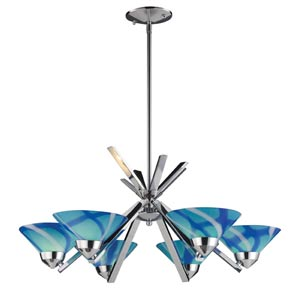 Refraction Polished Chrome Six-Light Chandelier with Carribean Glass