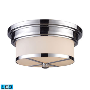 Flush Mount Two Light LED In Polished Chrome