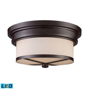 Flush Mount Two Light LED In Oiled Bronze