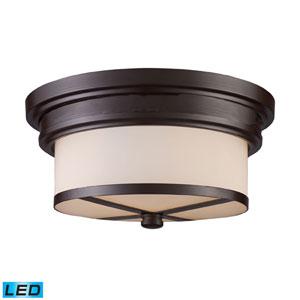 Flush Mount Two Light LED In Oiled Bronze