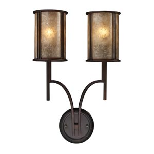 Barringer Aged Bronze Two-Light Sconce with Tan Mica Shades