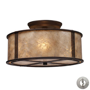 Barringer Three Light Semi-Flush In Aged Bronze And Tan Mica Shade w/ An Adapter Kit