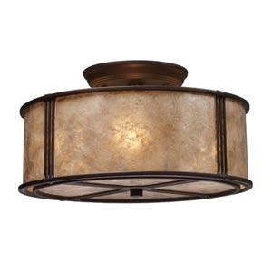 Barringer Aged Bronze Three-Light Semi-Flush with Tan Mica Shade