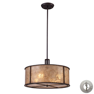 Barringer Four Light Pendant In Aged Bronze And Tan Mica Shade Includes w/ An Adapter Kit