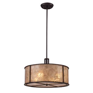 Barringer Aged Bronze Pendant with Tan Mica Shade