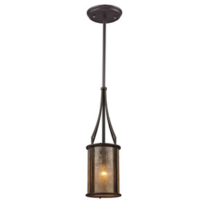 Barringer Aged Bronze Mini Pendant with Tan Mica Shade