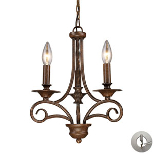Gloucester Antique Bronze Three Light Chandelier w/ an Adapter Kit