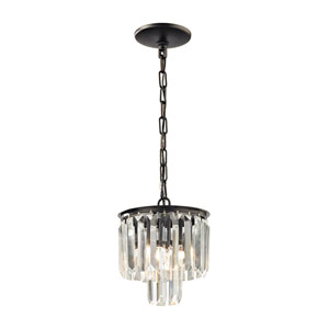 Palacial Oil Rubbed Bronze 9-Inch One-Light Mini Pendant with Clear Crystal