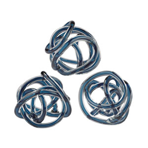Glass Knots Navy Blue Six-Inch Sculptures - Set of Three