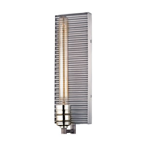 Corrugated Steel Weathered Zinc and Polished Nickel 5-Inch One-Light Wall Sconce