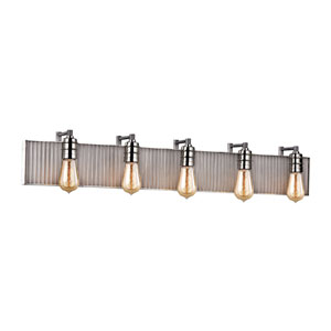 Corrugated Steel Weathered Zinc and Polished Nickel 40-Inch Five-Light Vanity