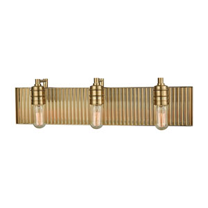 Corrugated Steel Satin Brass Three-Light Vanity