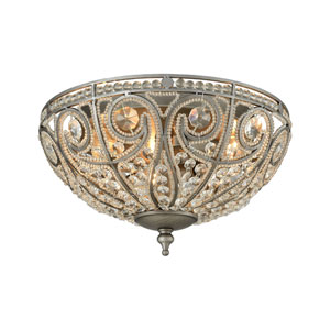 Elizabethan Weathered Zinc 13-Inch Three-Light Flush Mount