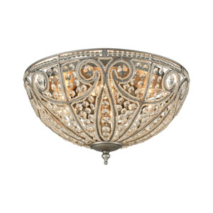 Elizabethan Weathered Zinc 17-Inch Six-Light Flush Mount