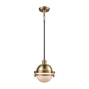 Riley Satin Brass and Oil Rubbed Bronze 10-Inch One-Light Pendant