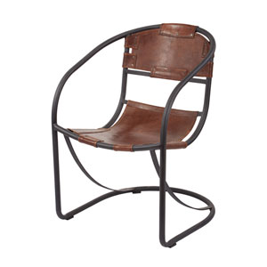 Retro Tobacco Leather Round Lounger Chair