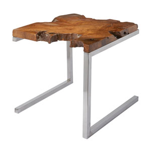 Teak Furniture with Angular Base Accent Table