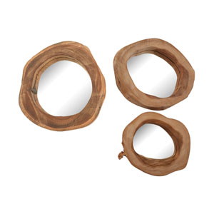 Natural Teak Round Mirrors - Set of Three
