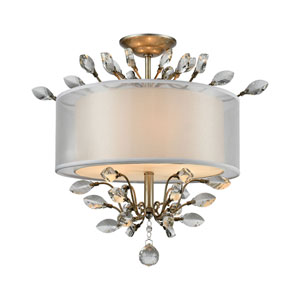 Asbury Aged Silver 19-Inch Three-Light Semi-Flush Mount