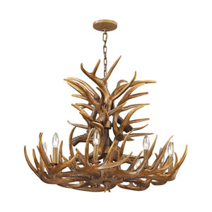 Elk Wood Brown 32-Inch Nine-Light Chandelier