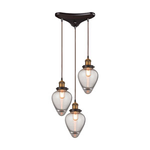 Bartram Oil Rubbed Bronze and Antique Brass 15-Inch Three-Light Pendant