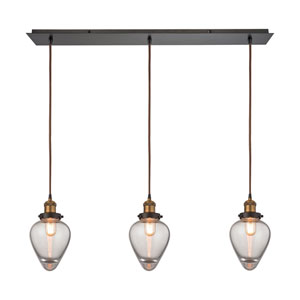 Bartram Oil Rubbed Bronze and Antique Brass 36-Inch Three-Light Pendant