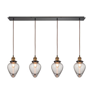 Bartram Oil Rubbed Bronze and Antique Brass 46-Inch Four-Light Pendant