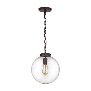 Gramercy Oil Rubbed Bronze 11-Inch One-Light Pendant with Clear Glass