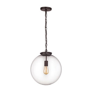 Gramercy Oil Rubbed Bronze 14-Inch One-Light Pendant with Clear Glass