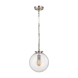 Gramercy Polished Nickel 11-Inch One-Light Pendant with Clear Glass