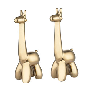 Gold Plated Giraffe Sculptures - Set of Two